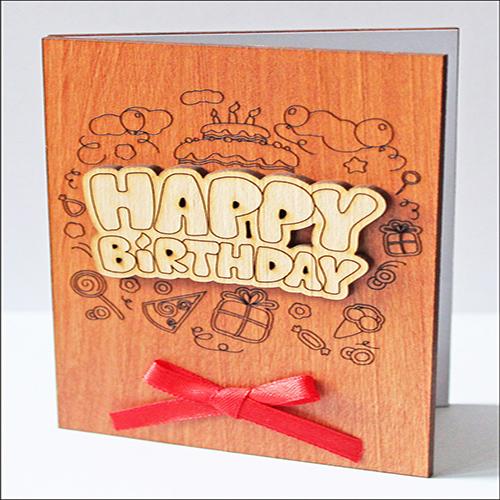 """Открытка из дерева универсальная """"Happy Birthday"""""""