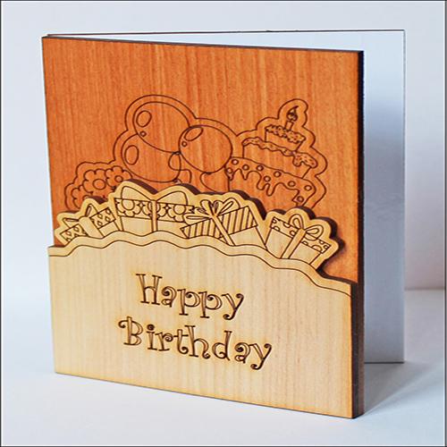 """Открытка из дерева поздравительная """"Happy Birthday"""""""