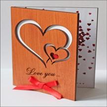 """Открытка из дерева для влюбленных """"I Love You"""""""