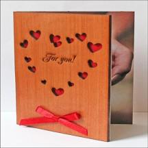 """Открытка из дерева для влюбленных """"For You"""""""