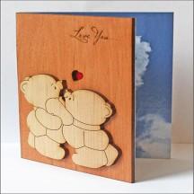 """Открытка из дерева для влюбленных """"Love You. Медвежата"""""""